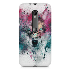 Splashed colours Wolf Design Moto X play hard plastic printed back cover