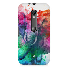 colourful portrait of Elephant Moto X play hard plastic printed back cover