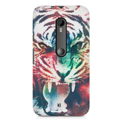 Tiger with a ferocious look Moto X play hard plastic printed back cover