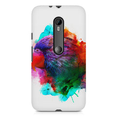 Colourful parrot design Moto X play hard plastic printed back cover