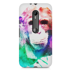 Colourful Monkey portrait Moto X play hard plastic printed back cover