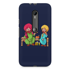 Punjabi sardars with chicken and beer avatar Moto X play hard plastic printed back cover