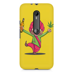 Sardar dancing with Beer and Marijuana  Moto X Force hard plastic printed back cover