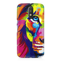Colourfully Painted Lion design,  Moto G4 Play printed back cover