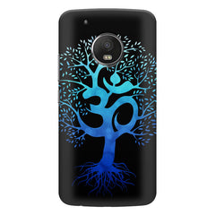A beautiful blue tree with Om inscribed Moto E4 plus hard plastic printed back cover
