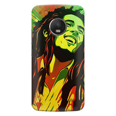 Bob Marley Multi colour fun Portrait Painting  capturing him in his happy avatar Moto G6 Plus hard plastic printed back cover