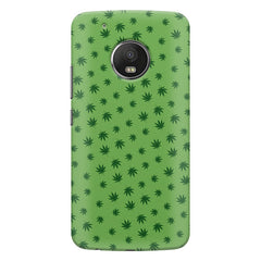 Tiny green leaves spread all over the cover design Moto E4 plus hard plastic printed back cover