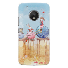 In the wonderland design Moto E4 plus hard plastic printed back cover