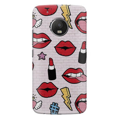 Sexy Red Lips Design Moto E4 plus hard plastic printed back cover