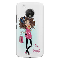 I love Shopping Girly design Moto E4 plus hard plastic printed back cover