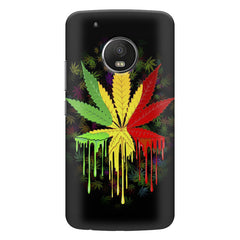 Marijuana colour dripping design    Moto E4 plus hard plastic printed back cover