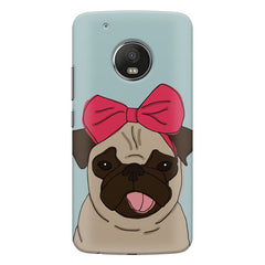 Pug with a bow on head sketch design    Moto G5 Plus hard plastic printed back cover