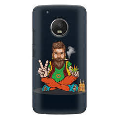 Man smoking joint pattern Moto E4 plus hard plastic printed back cover