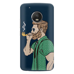 Man smoking cigar Moto G5S Plus hard plastic all side printed back cover.