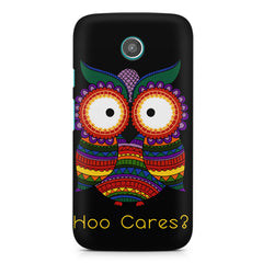 Owl funny illustration Hoo Cares Moto G printed back cover