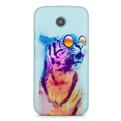 A funny, colourful yet cool portrait of a tiger wearing reflectors. moto X hard plastic printed back cover