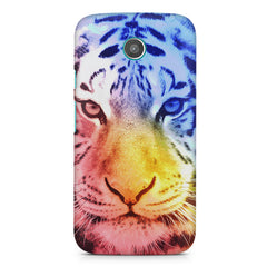 Colourful Tiger Design Moto G2 hard plastic printed back cover