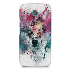 Splashed colours Wolf Design Moto G2 hard plastic printed back cover