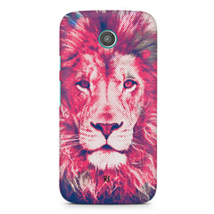 Zoomed pixel look of Lion design Moto G2 hard plastic printed back cover