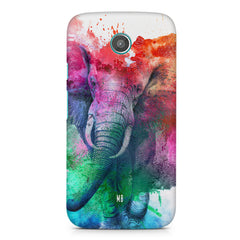 colourful portrait of Elephant Moto G2 hard plastic printed back cover