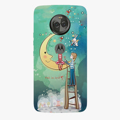Couple on the moon, Fall in Love sketch design    Moto X4 hard plastic printed back cover