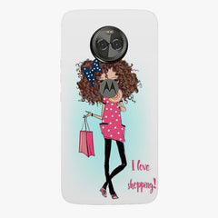 I love Shopping Girly design Moto X4 hard plastic printed back cover