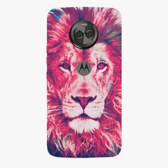 Zoomed pixel look of Lion design Moto X4 hard plastic printed back cover