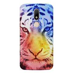 Colourful Tiger Design Moto M hard plastic printed back cover