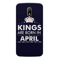 Kings are born in April design    Moto M hard plastic printed back cover