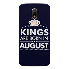Kings are born in August design    Moto M hard plastic printed back cover