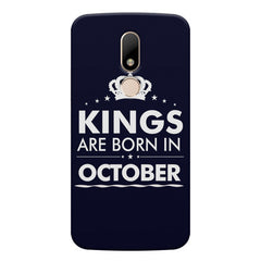 Kings are born in October design    Moto M hard plastic printed back cover