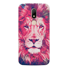 Zoomed pixel look of Lion design Moto M hard plastic printed back cover