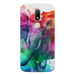 colourful portrait of Elephant Moto M hard plastic printed back cover