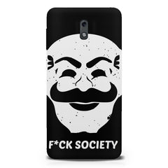 Fuck society design  Nokia 1 hard plastic printed back cover.