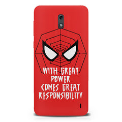 Spider man design  Nokia 1 hard plastic printed back cover.