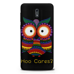 Owl funny illustration Hoo Cares  Nokia 1 hard plastic printed back cover.