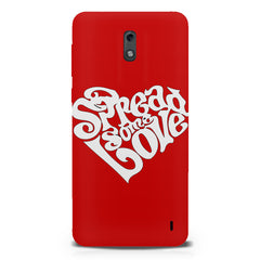 Spread some love design  Nokia 1 hard plastic printed back cover.