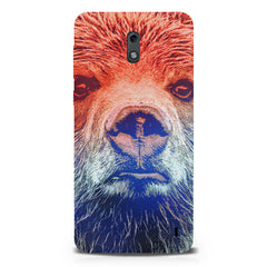 Zoomed Bear Design  Nokia 1 hard plastic printed back cover.