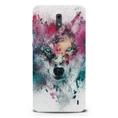 Splashed colours Wolf Design Nokia 1 hard plastic printed back cover.