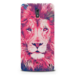 Zoomed pixel look of Lion design Nokia 1 hard plastic printed back cover.