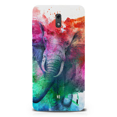 colourful portrait of Elephant Nokia 1 hard plastic printed back cover.