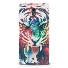 Tiger with a ferocious look Nokia 1 hard plastic printed back cover.