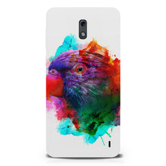 Colourful parrot design Nokia 1 hard plastic printed back cover.