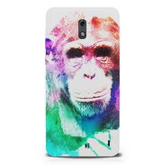 Colourful Monkey portrait Nokia 1 hard plastic printed back cover.