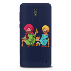 Punjabi sardars with chicken and beer avatar Nokia 1 hard plastic printed back cover.