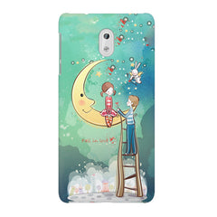Couple on moon sketch design Nokia 3 printed back cover