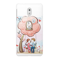 Couple swinging together sketch design Nokia 3 printed back cover