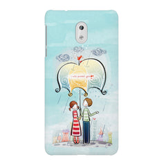 Couple under umbrella sketch design Nokia 3 printed back cover