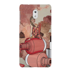 Girl on nail paints sketch design Nokia 3 printed back cover