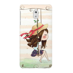 Girl swinging sketch design Nokia 3 printed back cover